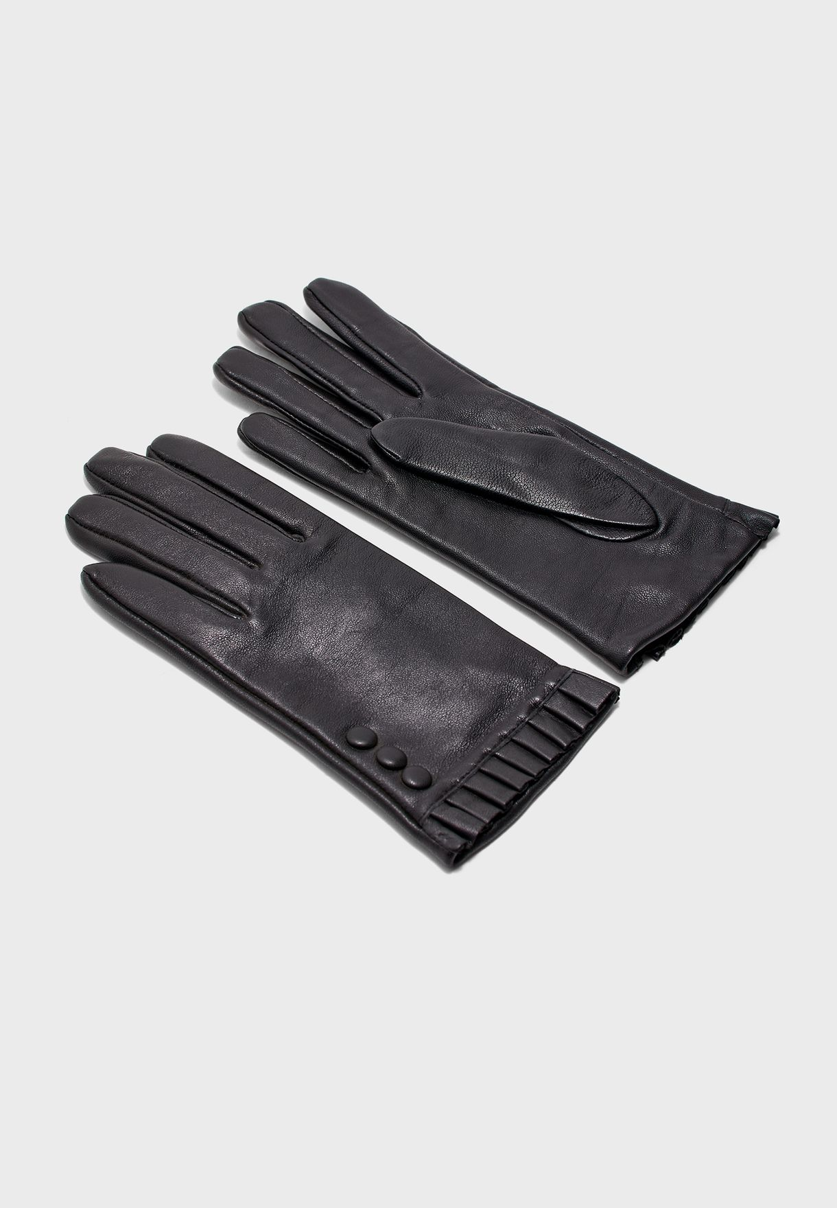 Dorothy Perkins Womens Button Frill Leather Glove