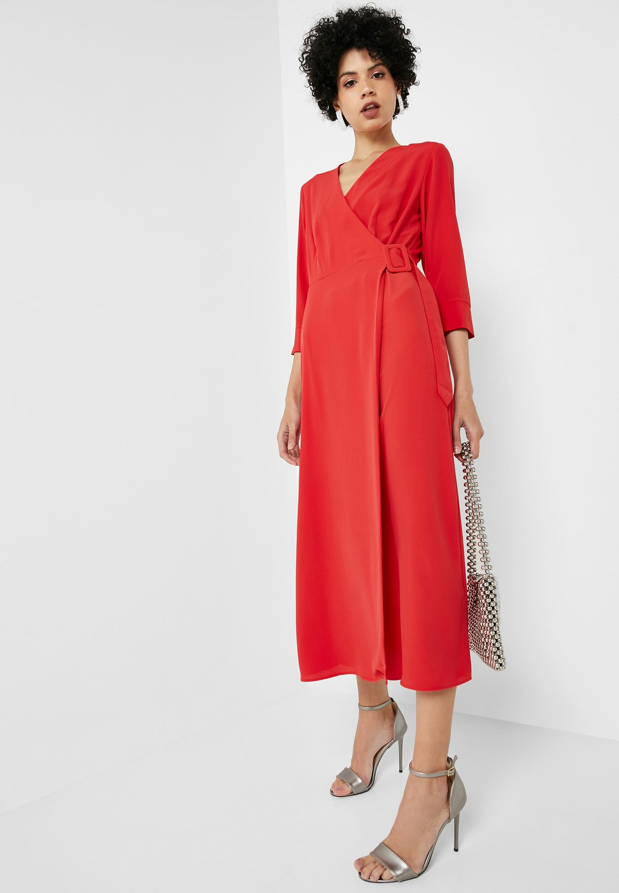 ba691d36f2 Shop Topshop red Belted Wrap Dress 10N09QRED for Women in UAE ...