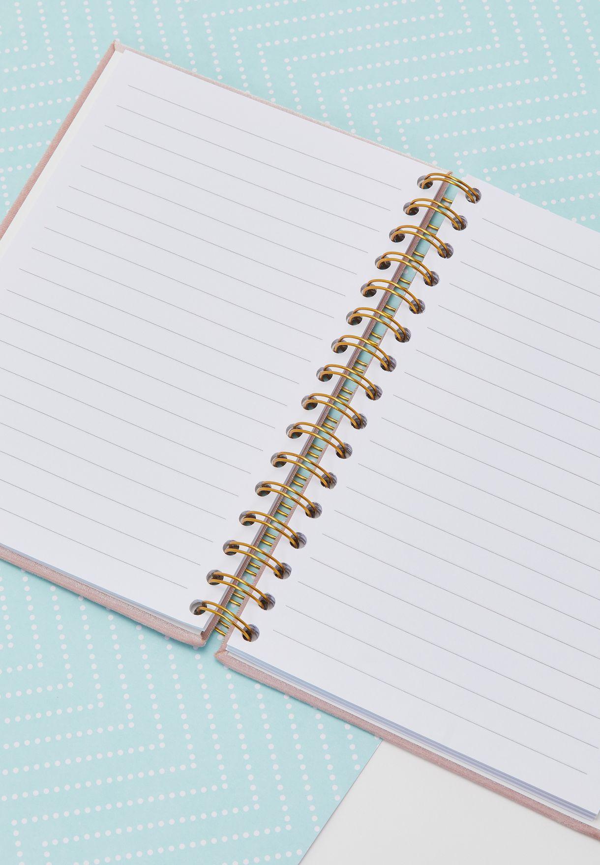 A5 Velvet Spiral Notebook - Pink