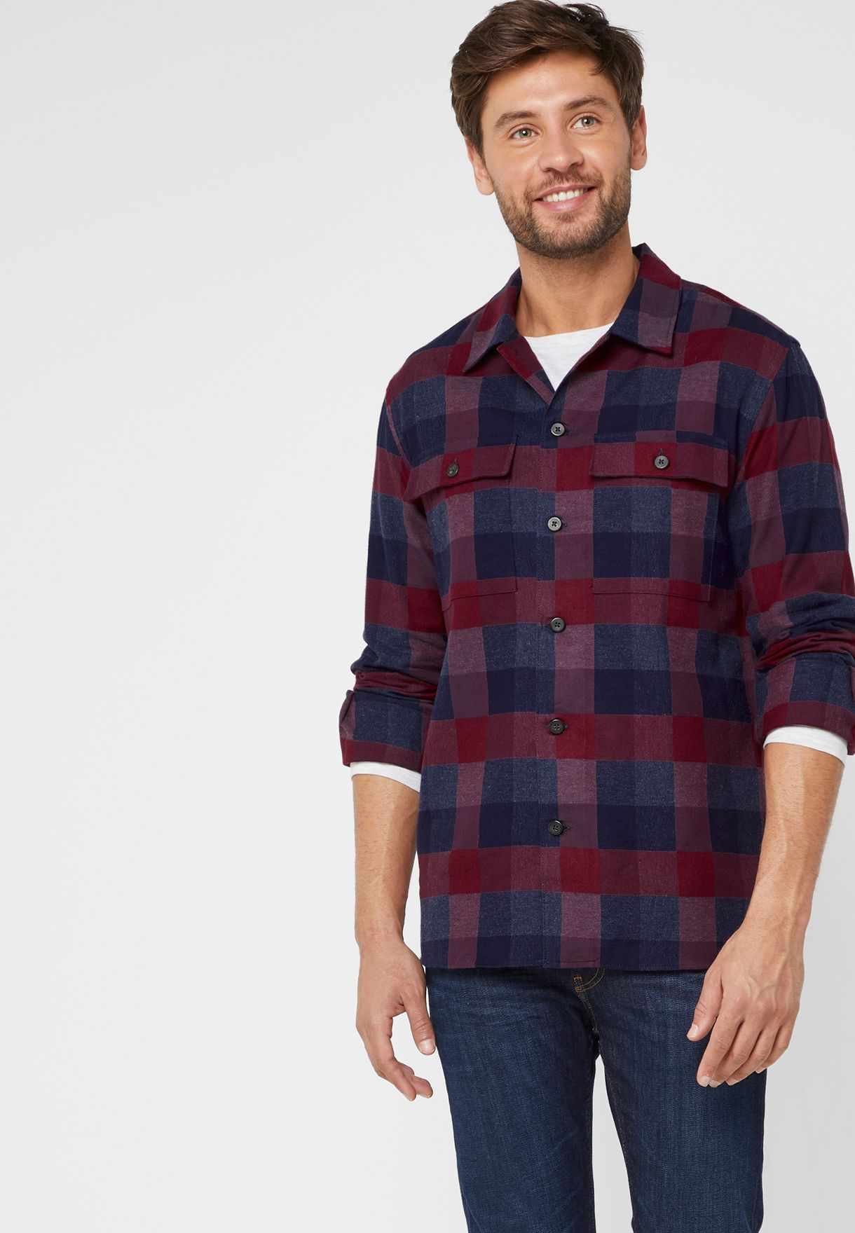 Regular Fit Checked Over Shirt