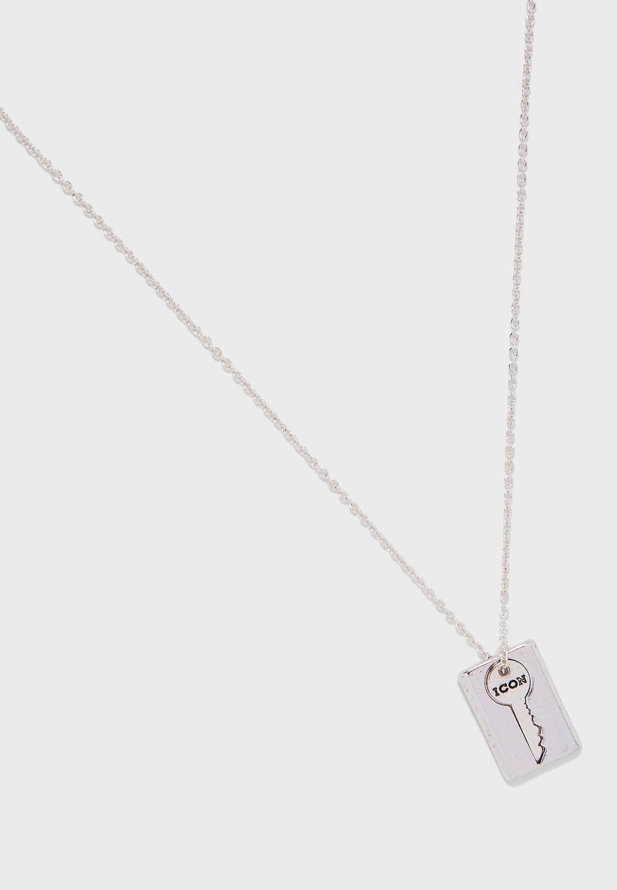 Rectangular Tab & Key Pendant Chain Necklace