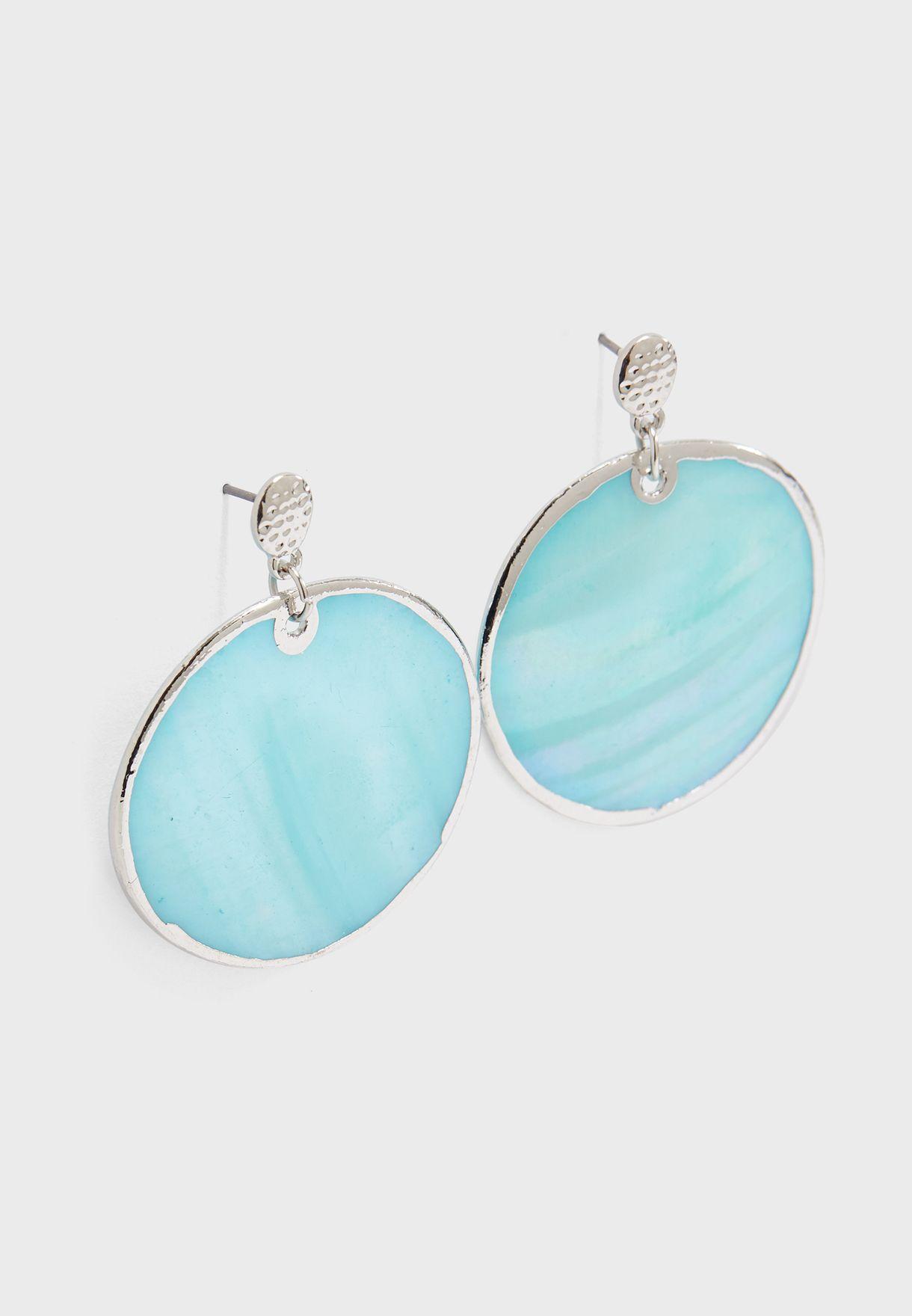 Shell Disc Drop Earrings