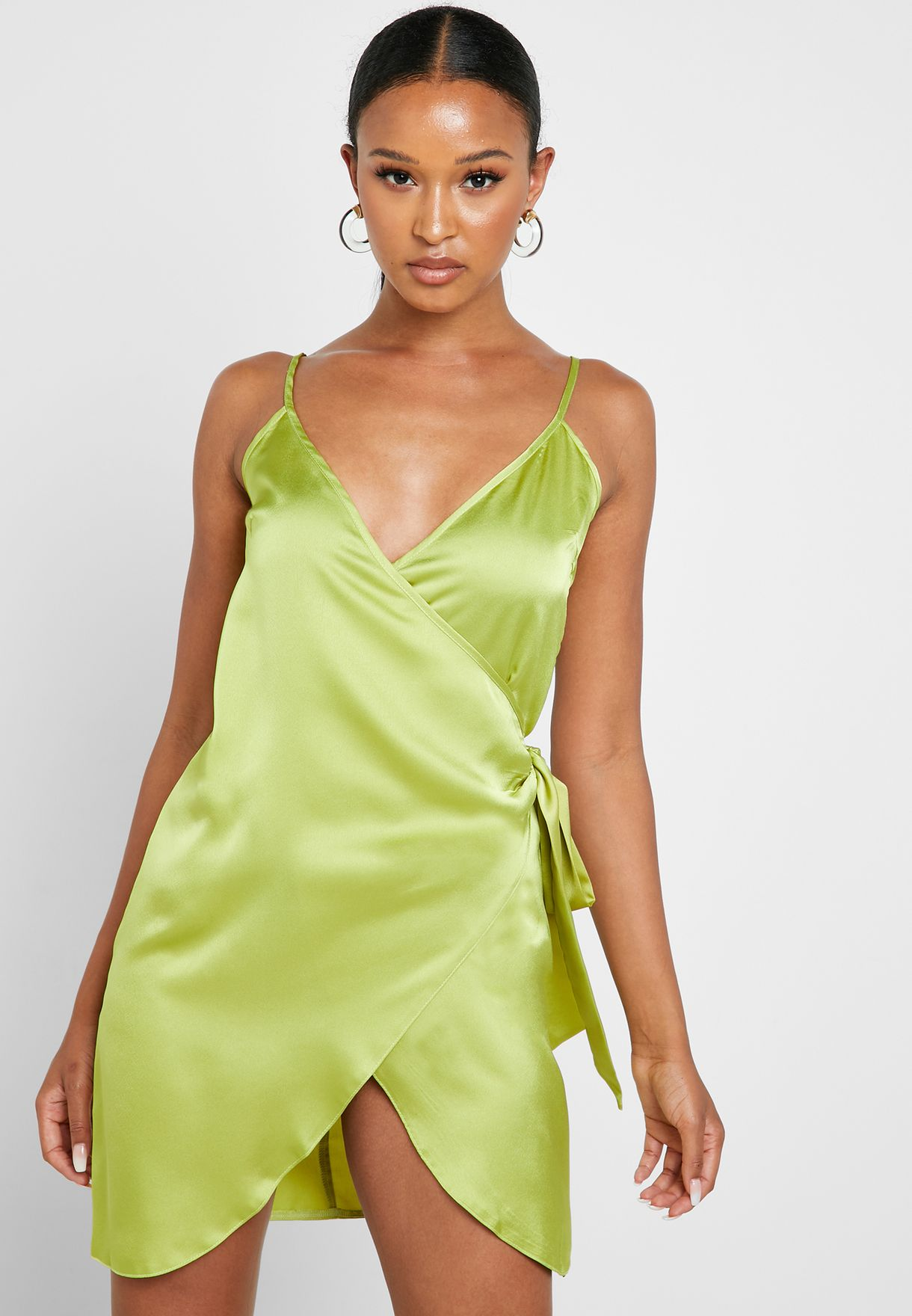 Side Tie Wrap Plunge Dress