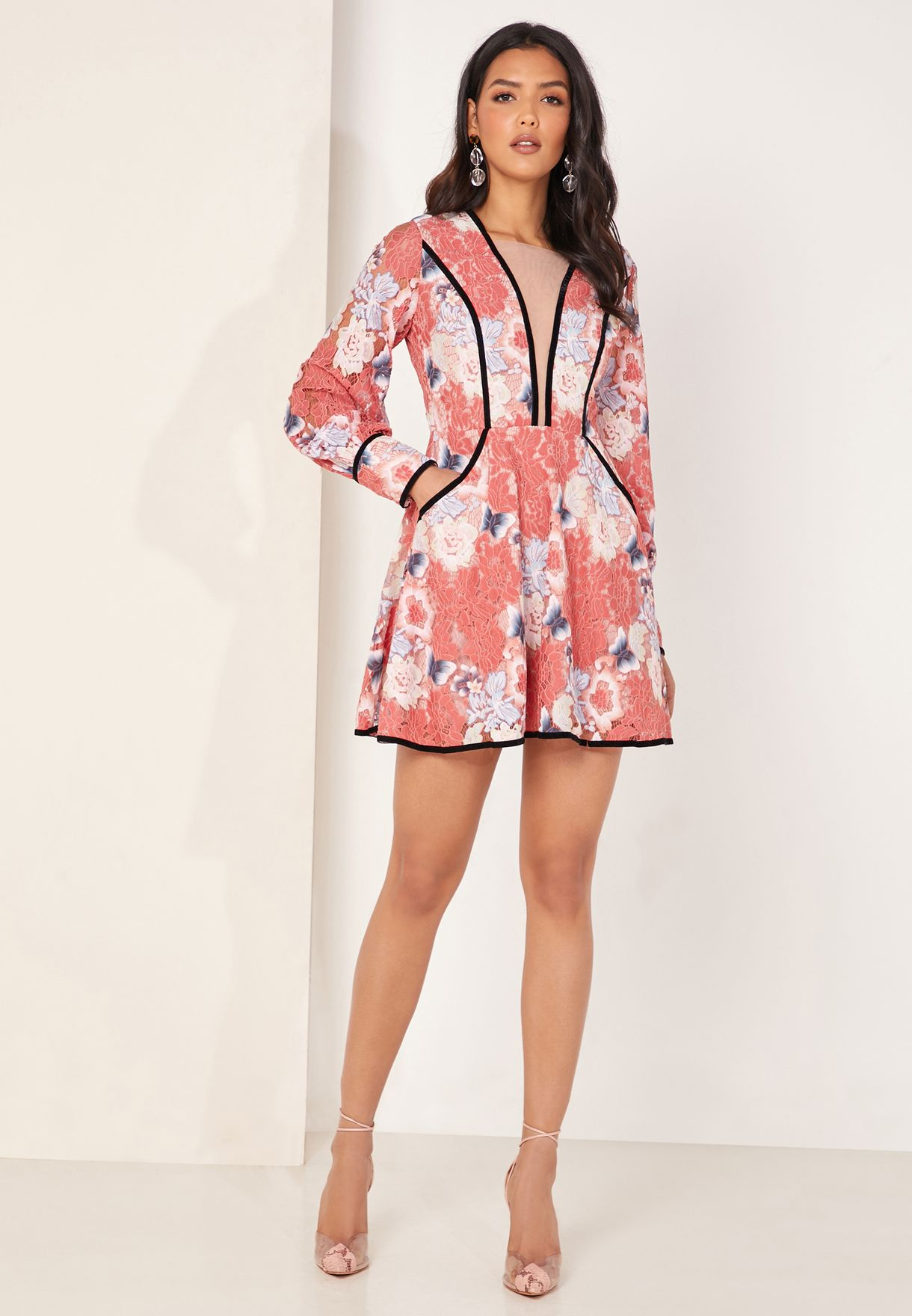 Ashlee Frloral Print Puff Sleeve Dress