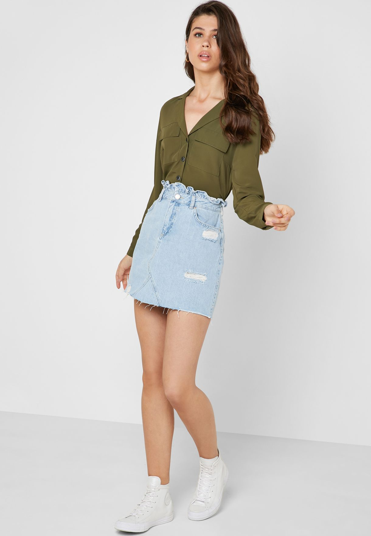 Ruffle Detail Ripped Denim Skirt