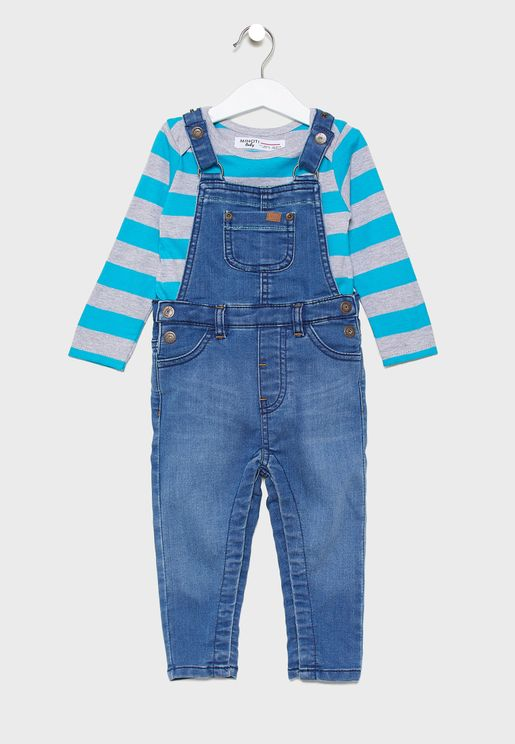 Kids Striped T-Shirt+Denim Dungaree Set
