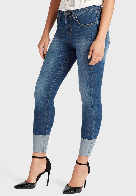 Contrast Skinny Jeans
