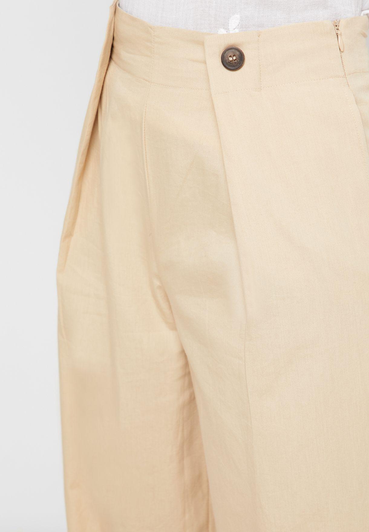 Button Detail Crop Pants