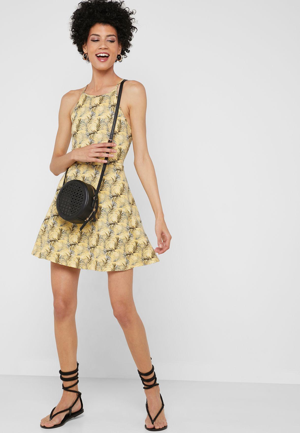 Halter Neck Printed Dress