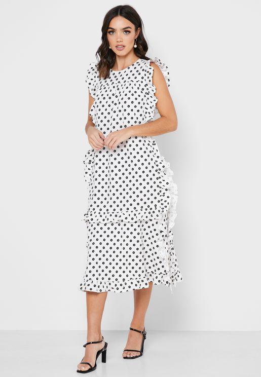 Ruffle Detail Dot Print Dress