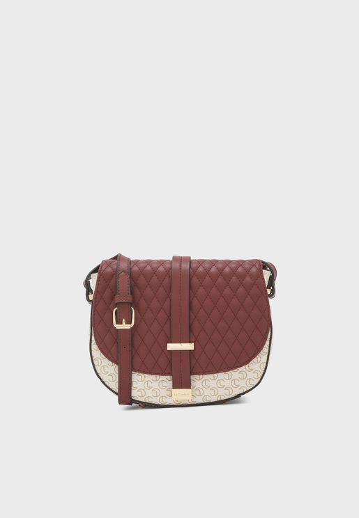 Moon Cut Flap Over Belted Crossbody