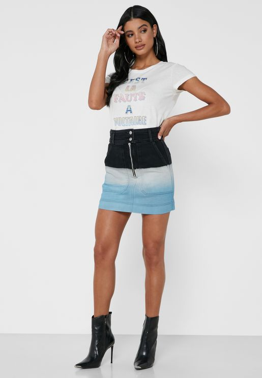 Jima Zip Through Colorblock Denim Skirt