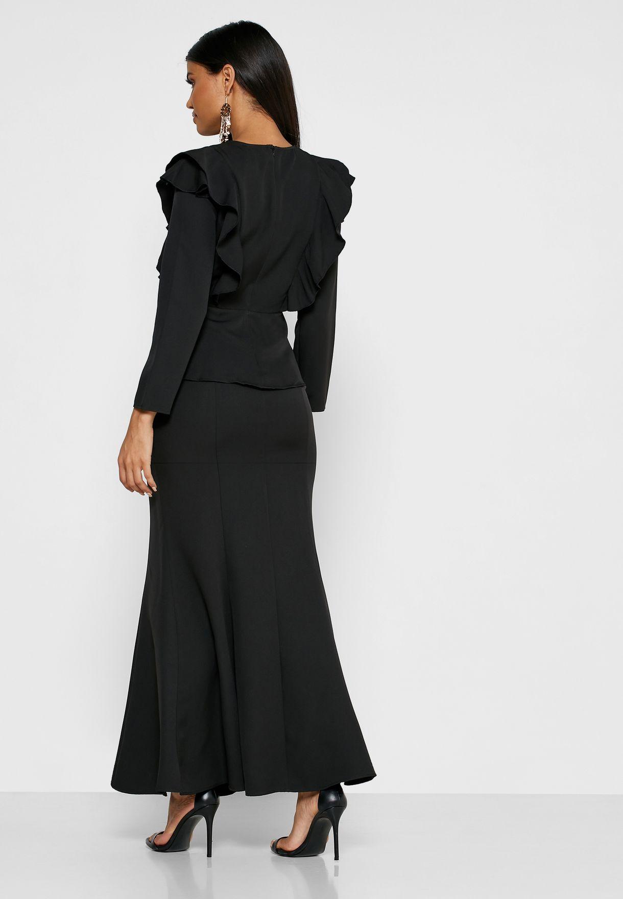 Ruffle Sleeve Maxi Skirt Set