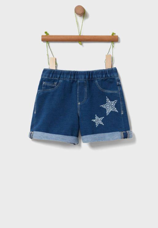 Kids Star Graphic Denim Shorts