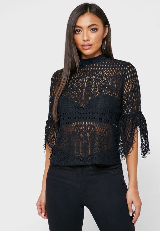 Cut Work Slit Sleeve Top