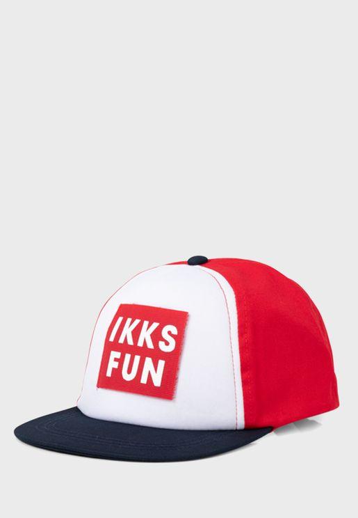 Kids Color Block Slogan Cap