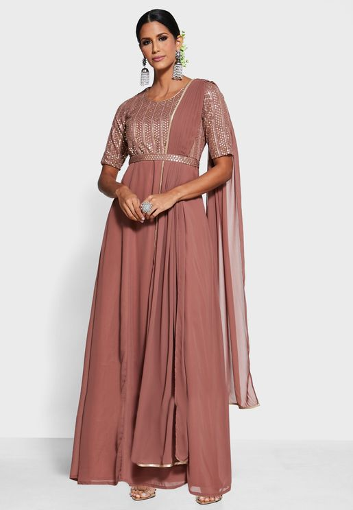 Rose Pink Embroidered Maxi Tunic with Attached Belt