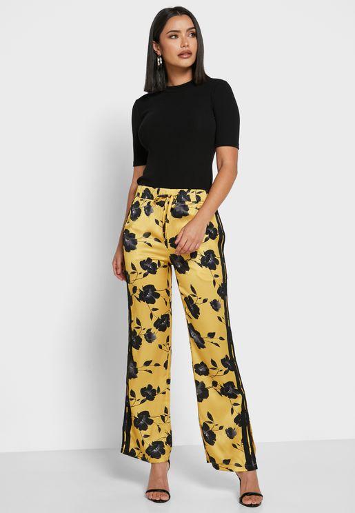 Floral Print Contrast Tape Paneled Pants