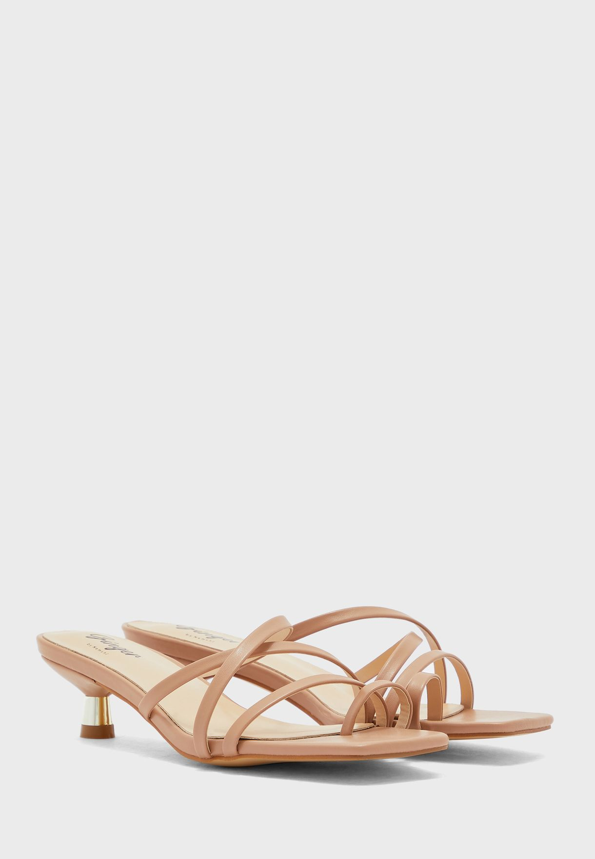 Strappy Square Toe Mule With Gold Kitten Heel