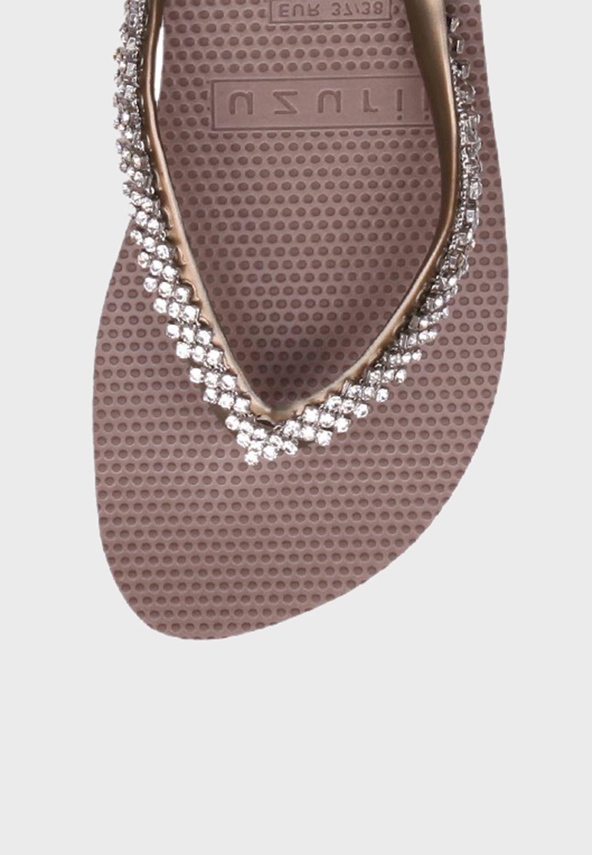 Stone Detail Mid Heel Wedge Sandal