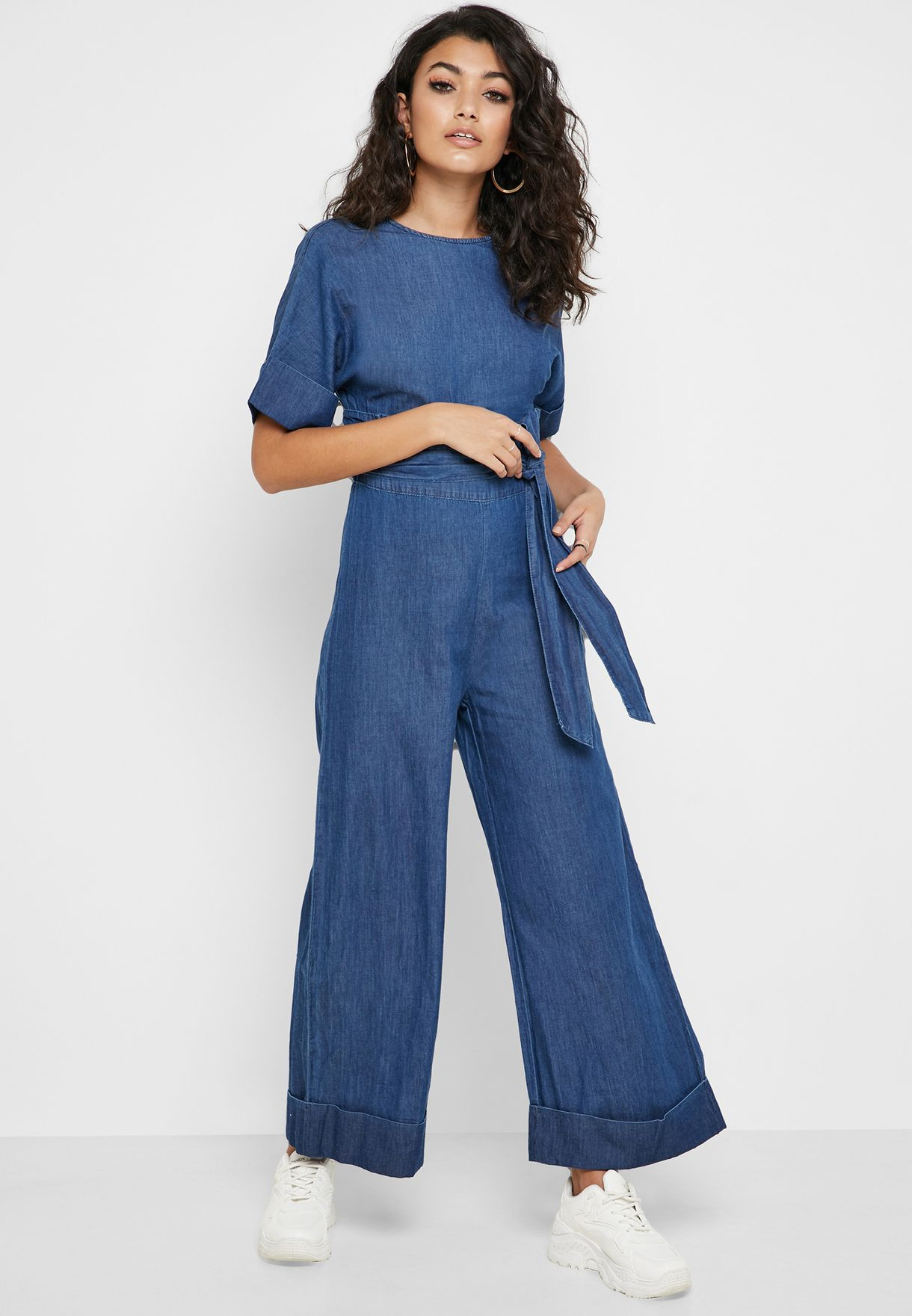 Ruffle Detail Belted Jumpsuit