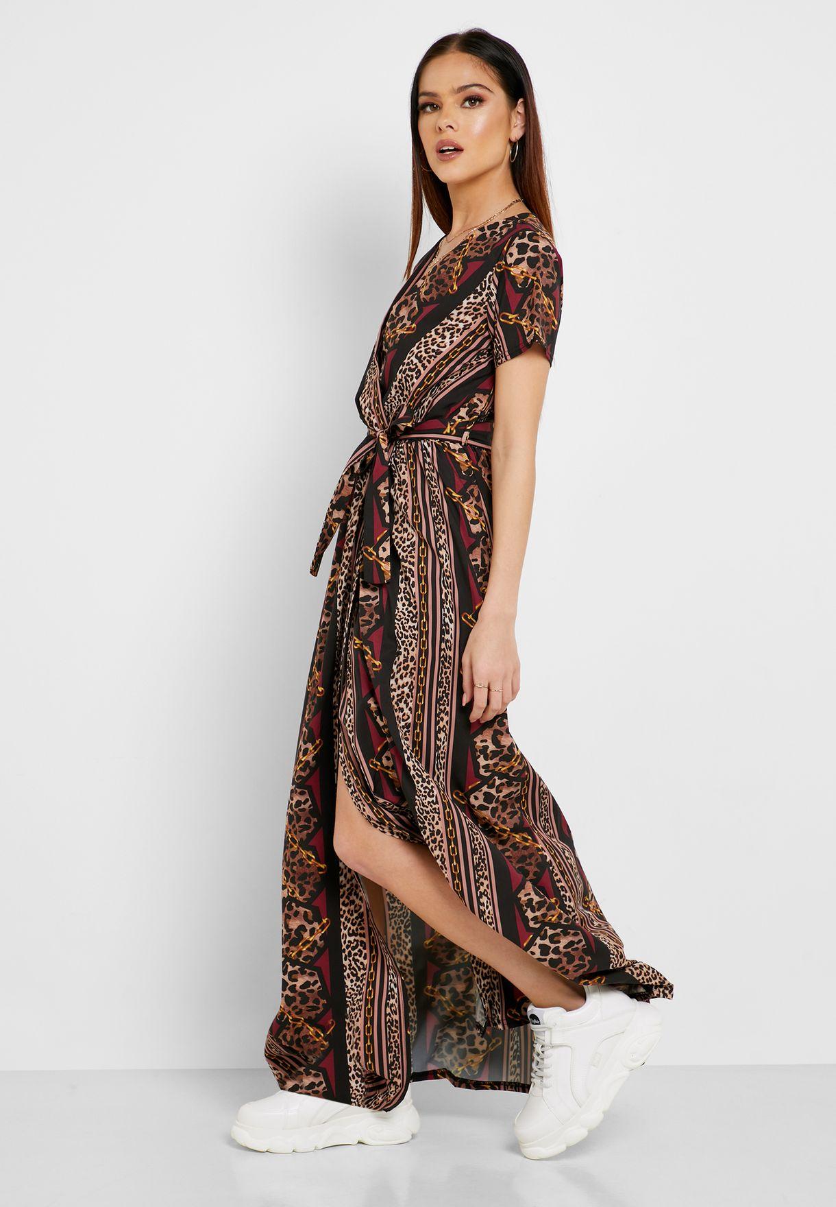 فستان ماكسي لف بطبعات جلد حيوان