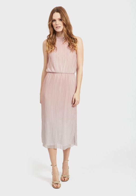 High Neck Plisse Dress
