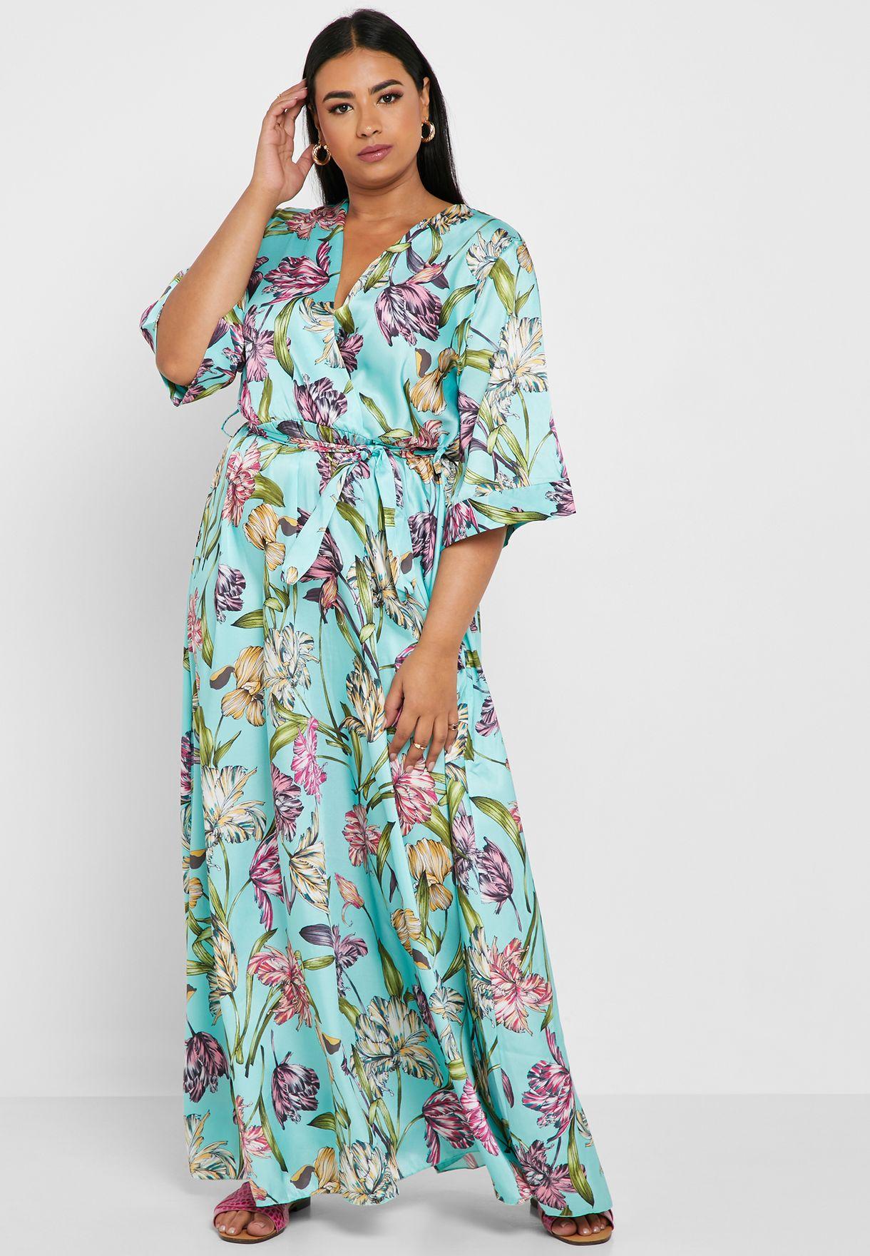 فستان مكسي بأكمام كيمونو