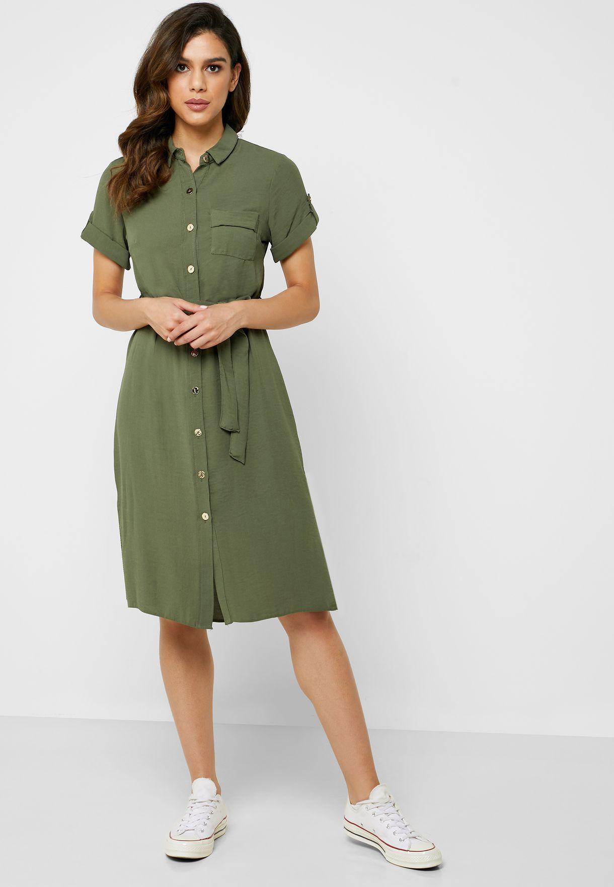 Tie Waist Pocket Detail Shirt Dress