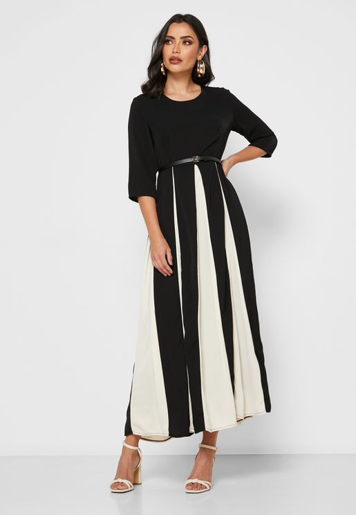 Colourblock Belted Midi Dress