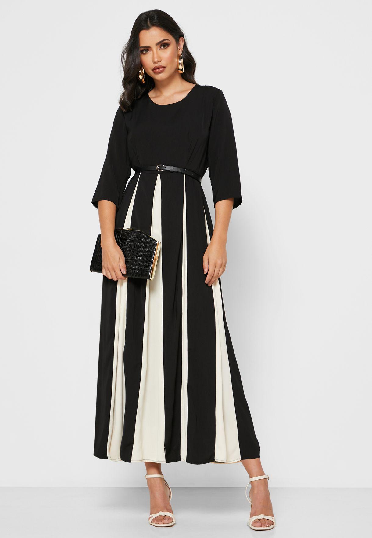 Colourblock Belted Midi Dress
