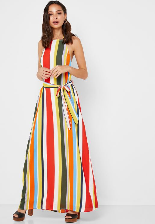 f863fd9386a Multicolor Tie Waist Maxi Dress. Forever 21. Multicolor Tie Waist Maxi Dress