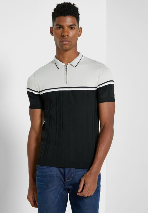 Color Block Knitted Polo