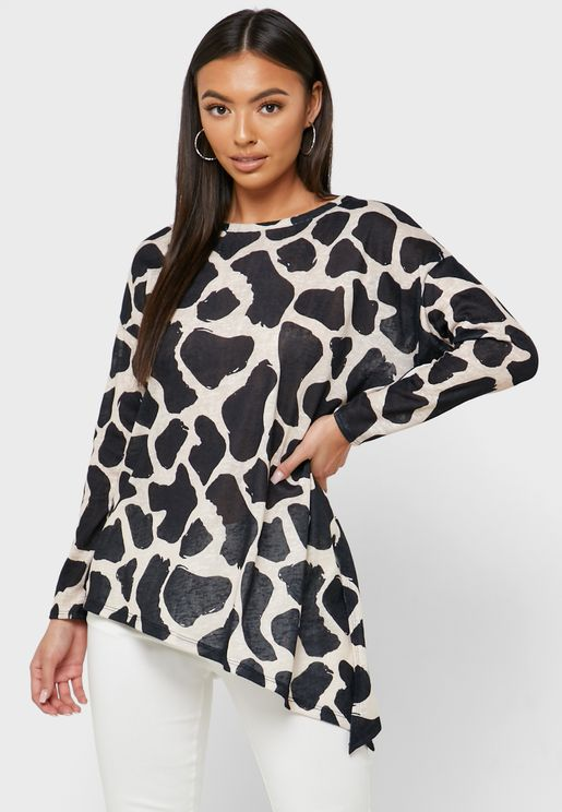 Asymmetric Hem Printed Top