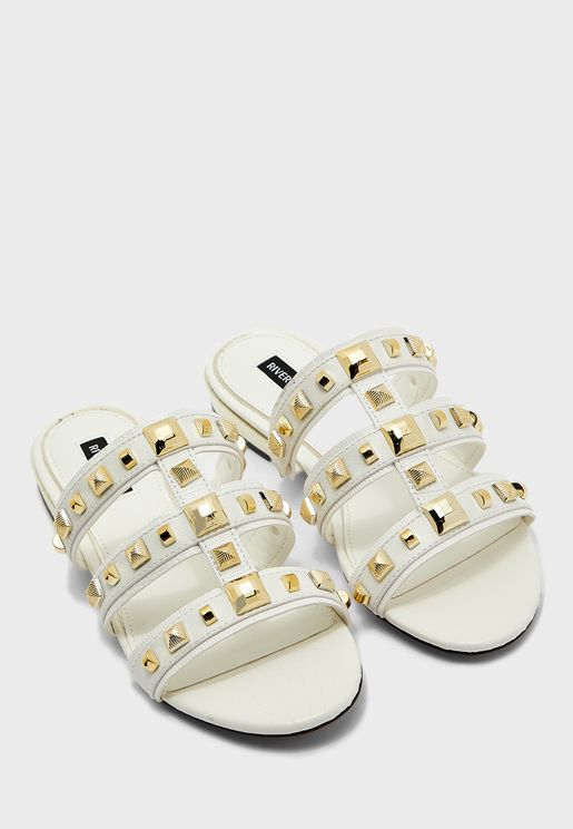 Caged Studded Flat Sandals