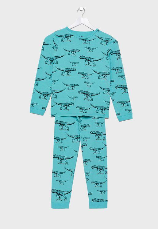 Kids Printed T-Shirt + Printed Pyjama Set