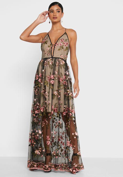 Floral Print Plunge Dress