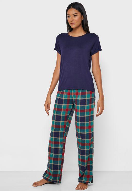 T-Shirt & Check Pyjama Set