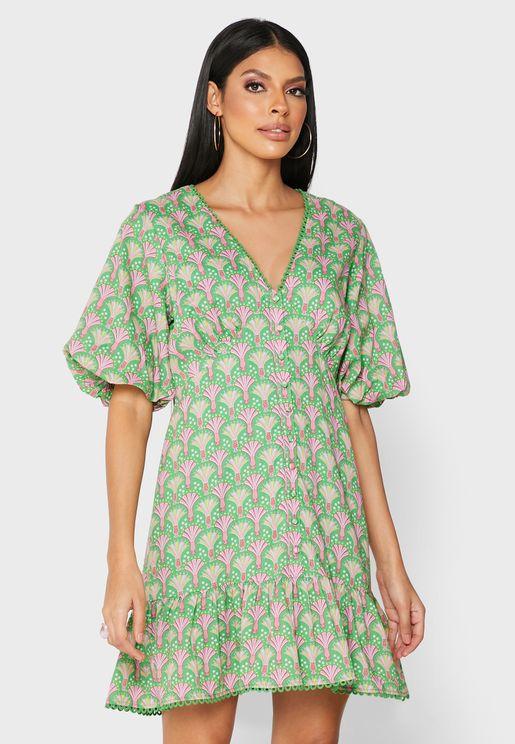 Plunge Neck Printed Dress
