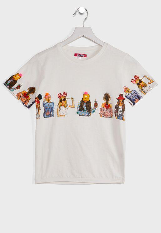Natilene Printed Round Neck T-Shirt