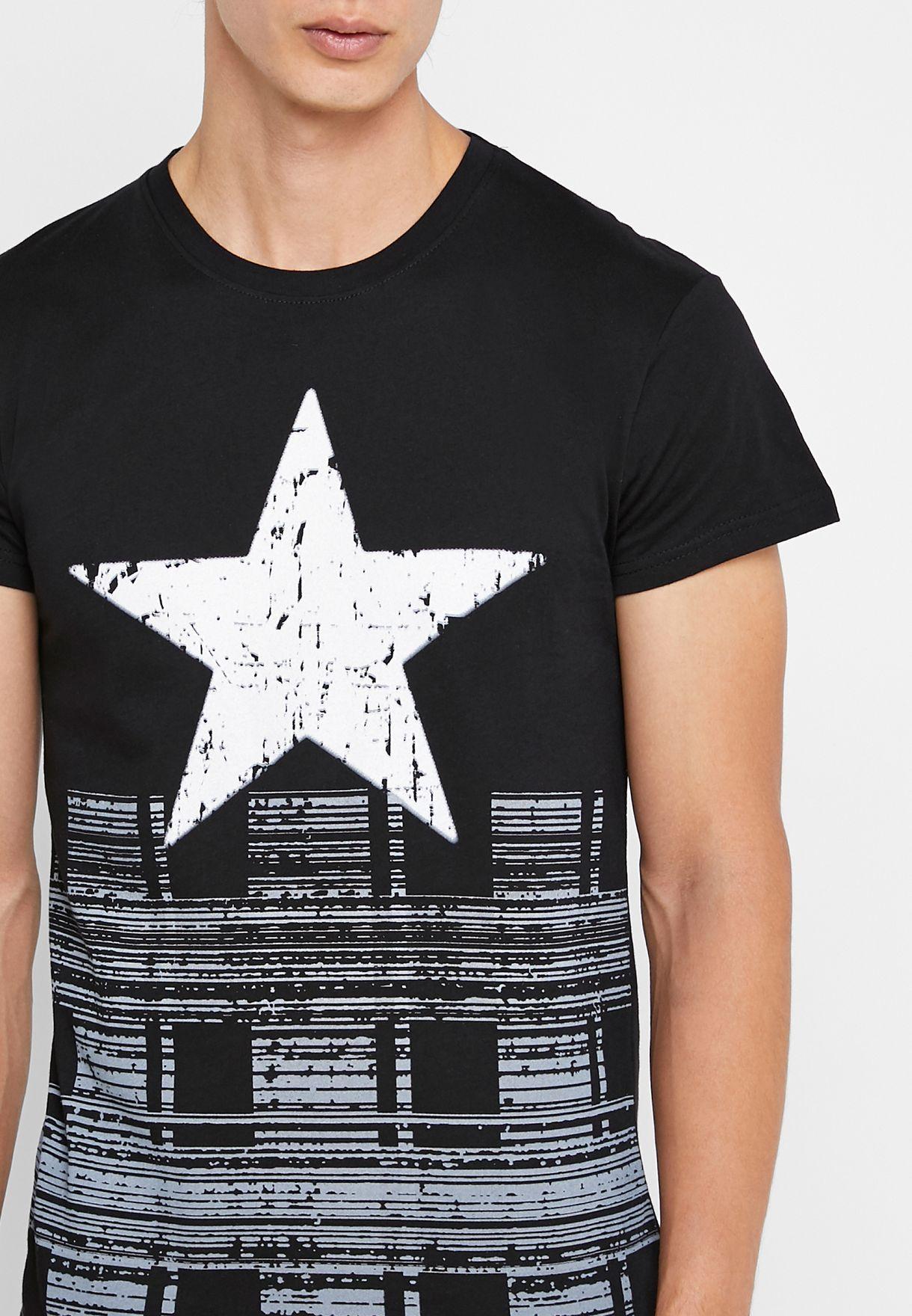 Star Print Crew Neck T-Shirt