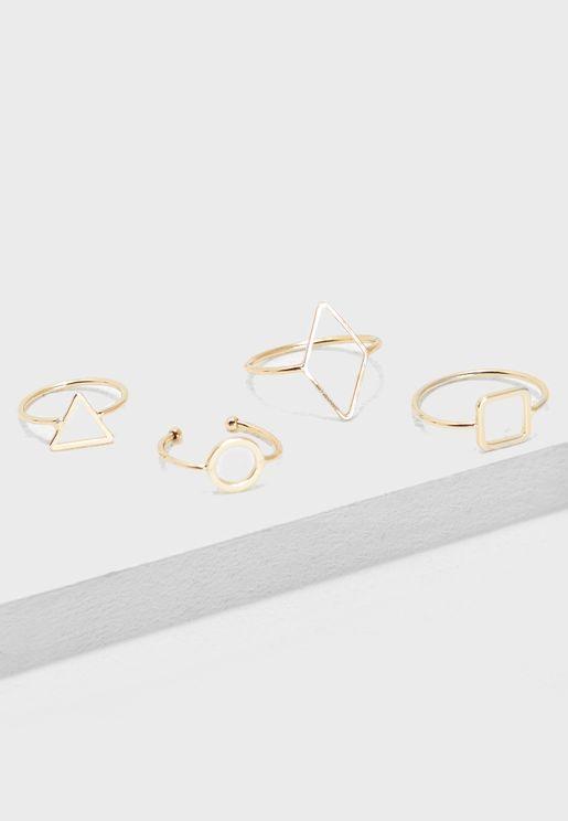 Multipack Stone Detail Rings