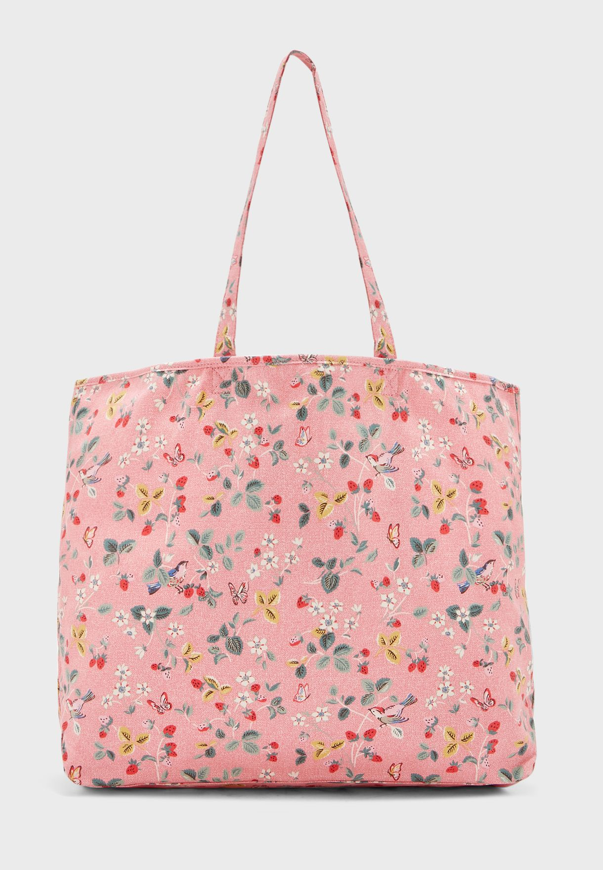 Birds And Berries Printed Shopper