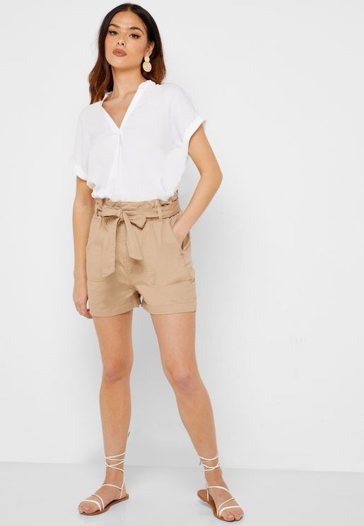 Paperbag Waist Utility Shorts