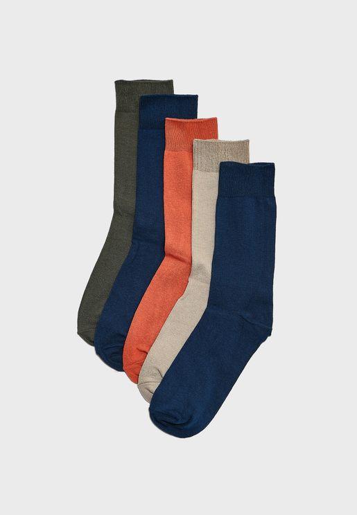 56bbbec9e 5 Pack Assorted Color Socks