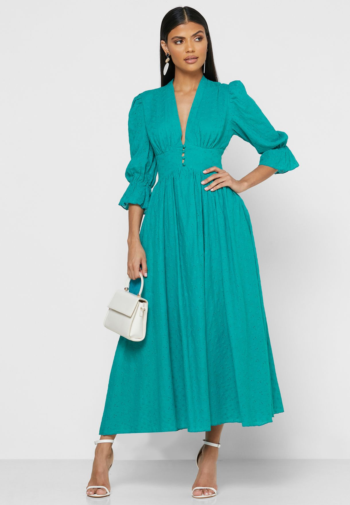 Plunge Neck Puffed Sleeve Maxi Dress