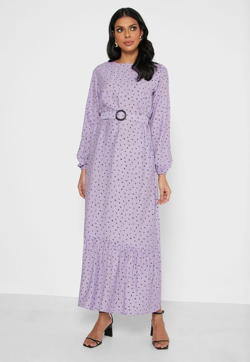 Belt Detail Shirred Dress