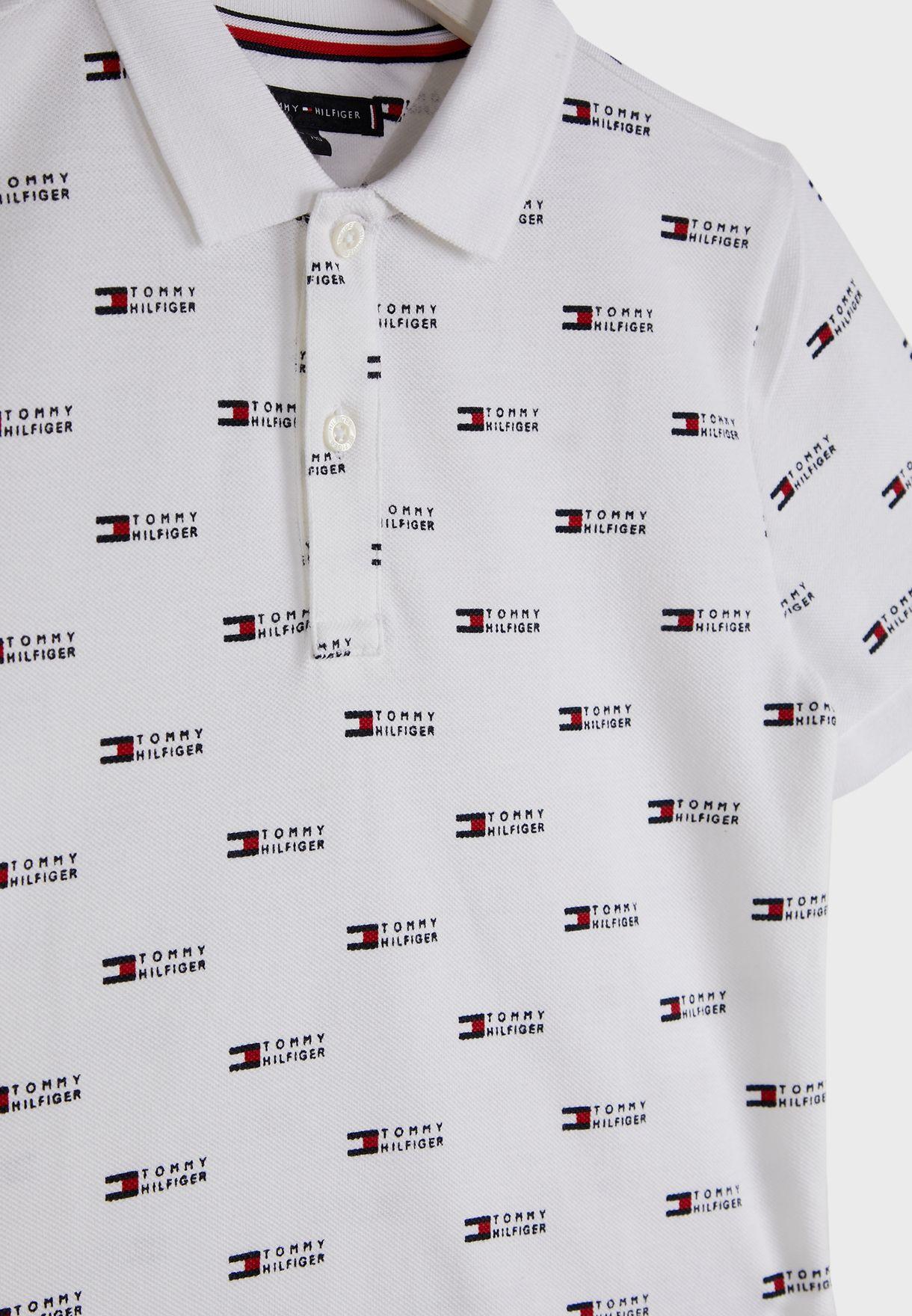 Teen Aop Logo Polo Shirt