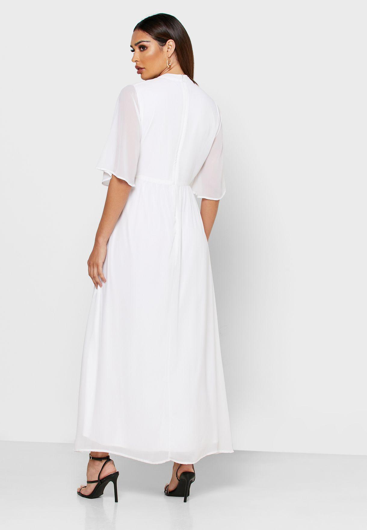 Pleated Wide Sleeve Dress
