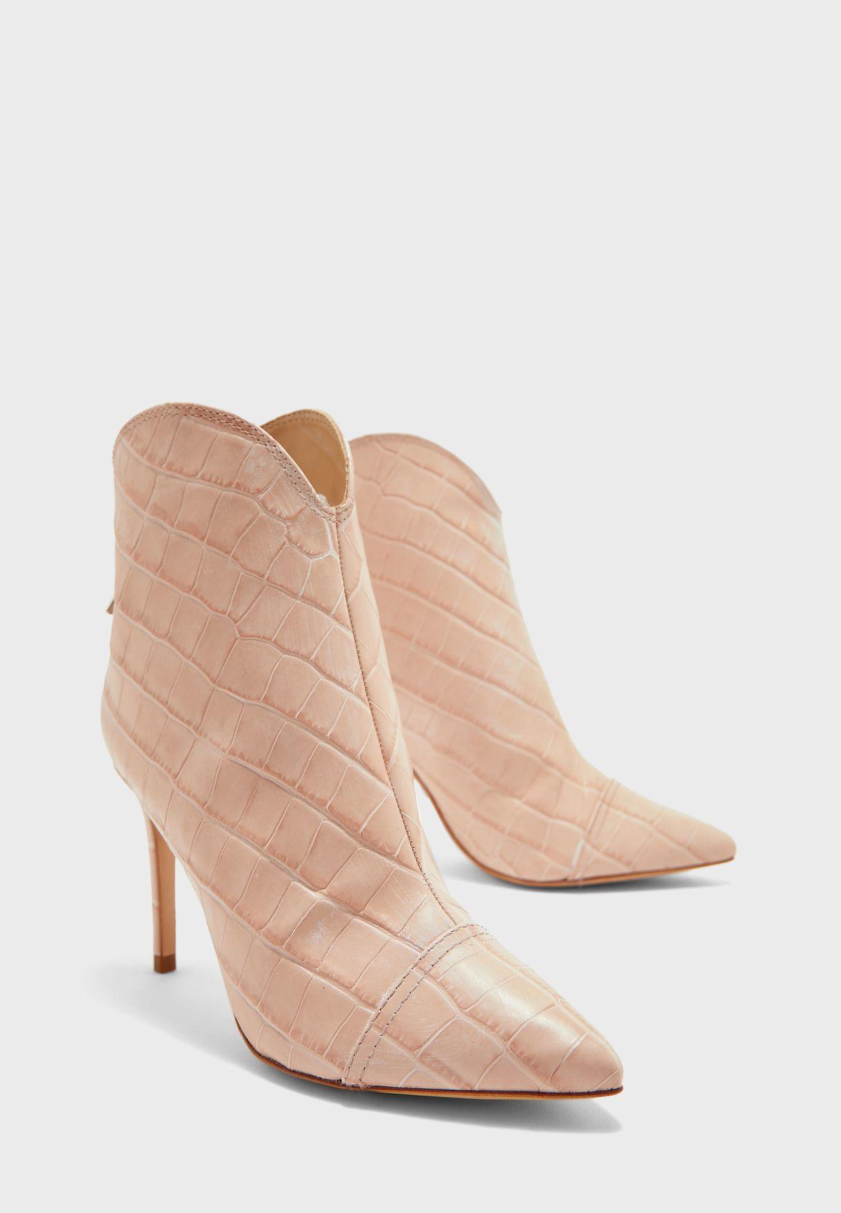 Striped Mid Heel Boot